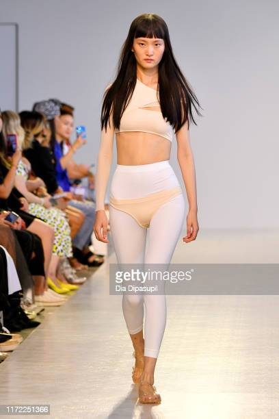A model walks the runway at TMall China Cool Threegun September 2019 during New York Fashion Week The Shows at Gallery II at Spring Studios on...