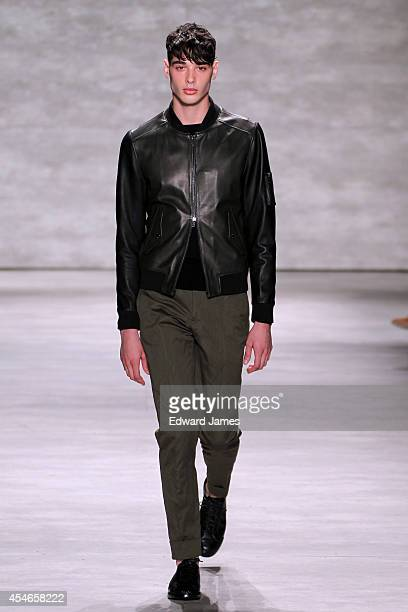 Model walks the runway at Todd Snyder during Mercedes-Benz Fashion Week Spring 2015 at The Pavilion at Lincoln Center on September 4, 2014 in New...