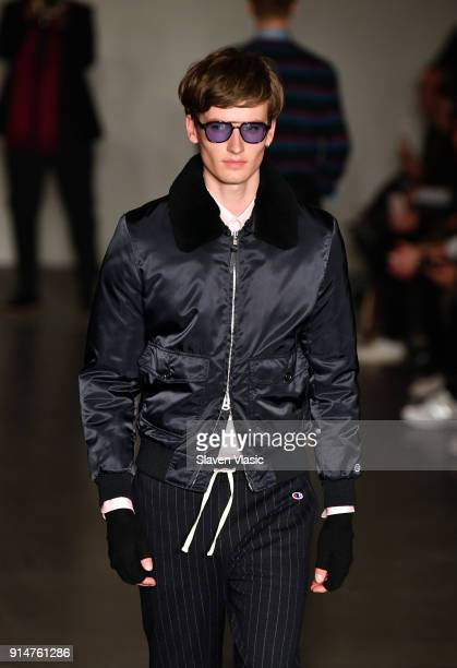 A model walks the runway at Todd Snyder fashion show a part of February 2018 Men's New York Fashion Week at Pier 59 on February 5 2018 in New York...