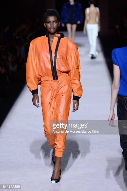 A model walks the runway at Tom Ford New York Fashion Week show during on September 6 2017 in New York City