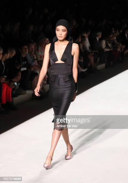 Model walks the runway at Tom Ford SS19 Fashion Show at Park Avenue Armory on September 5, 2018 in New York City.