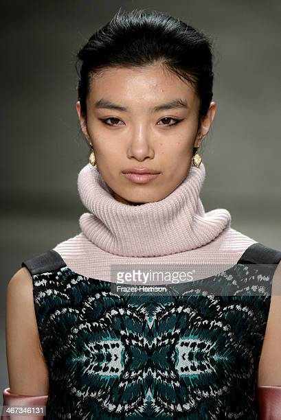 A model walks the runway at Tome fashion show during MercedesBenz Fashion Week Fall 2014 at The Pavilion at Lincoln Center on February 6 2014 in New...