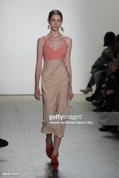 Model walks the runway at Tome show during New York Fashion Week: The Shows at Gallery 2, Skylight Clarkson Sq on February 12, 2017 in New York City.