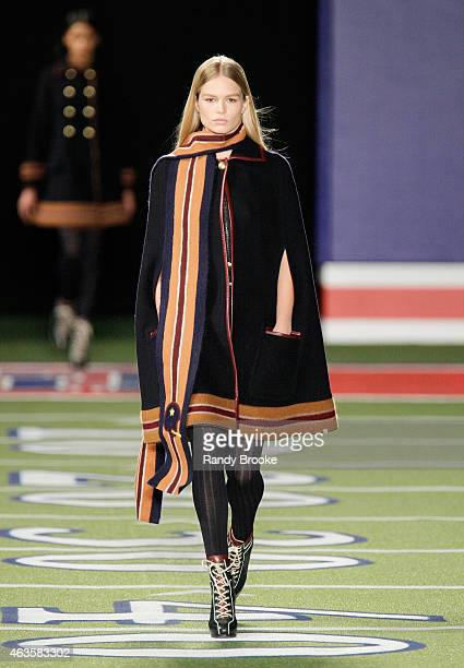 A model walks the runway at Tommy Hilfiger Women's Collection during MercedesBenz Fashion Week Fall 2015 on February 16 2015 in New York City