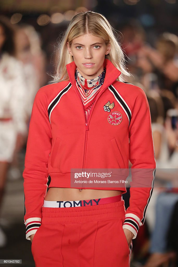 A model walks the runway at Tommy Hilfiger Women's show during New York Fashion Week at Pier 19 on September 9, 2016 in New York City.
