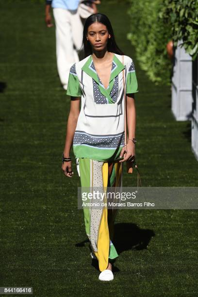 Model walks the runway at Tory Burch show during New York Fashion Week at Cooper Hewitt, Smithsonian Design Museum on September 8, 2017 in New York...