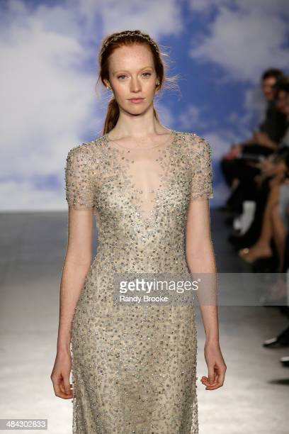 A model walks the runway at TRESemme at Jenny Packham Bridal AW14 on April 11 2014 at Industria Studios in New York City
