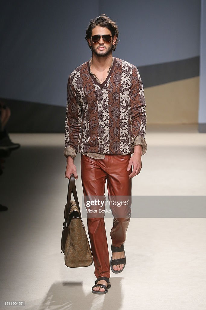 A model walks the runway at Trussardi show during Milan Menswear Fashion Week Spring Summer 2014 on June 23, 2013 in Milan, Italy.