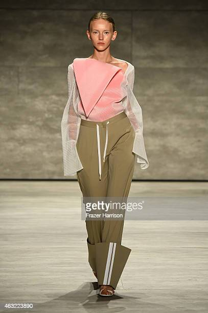 A model walks the runway at VFILES fashion show during MercedesBenz Fashion Week Fall 2015 at The Pavilion at Lincoln Center on February 11 2015 in...