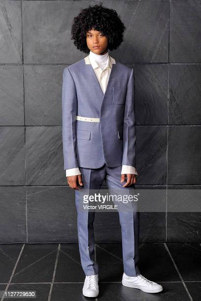 A model walks the runway at Victor Li Ready to Wear Fall/Winter 2019 fashion show during men's New York Fashion Week on February 4 2019 in New York...