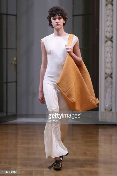 A model walks the runway at Victoria Beckham fashion show February 2018 during New York Fashion Week on February 11 2018 in New York City
