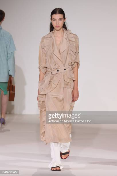 Model walks the runway at Victoria Beckham show during New York Fashion Week on September 10, 2017 in New York City.