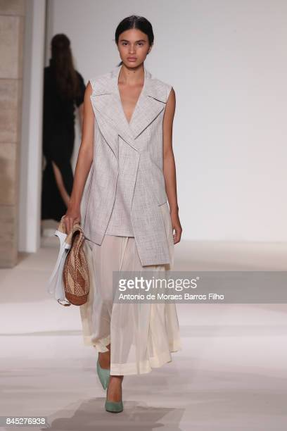 A model walks the runway at Victoria Beckham show during New York Fashion Week on September 10 2017 in New York City