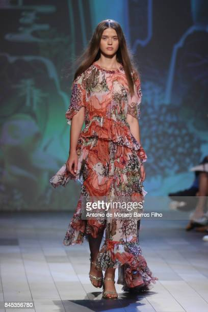 Model walks the runway at Vivienne Tam show during New York Fashion Week at Gallery 1, Skylight Clarkson Sq on September 10, 2017 in New York City.