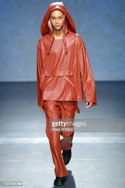 A model walks the runway at Wan Hung Ready to Wear Fall/Winter 2019 fashion show during men's New York Fashion Week on February 5 2019 in New York...
