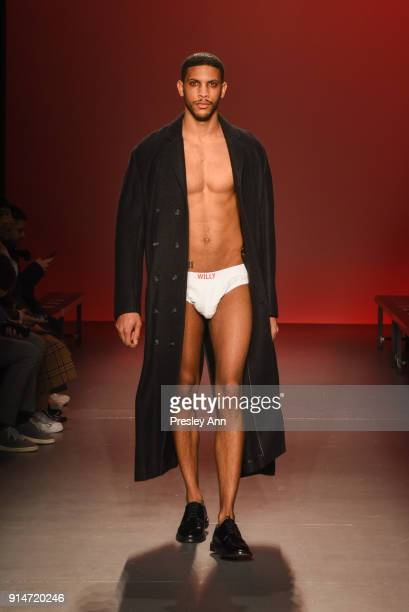 Model walks the runway at Willy Chavarria February 2018 New York Fashion Week Mens' at Pier 59 Studios on February 5 2018 in New York City