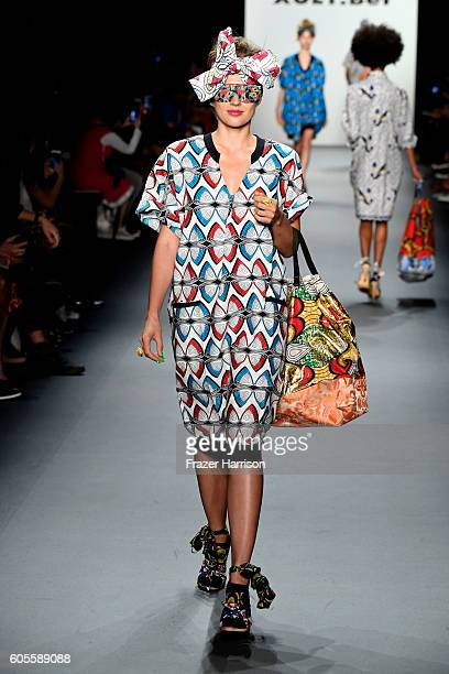 A model walks the runway at Xuly Bet fashion show during September 2016 New York Fashion Week The Shows at The Dock Skylight at Moynihan Station on...
