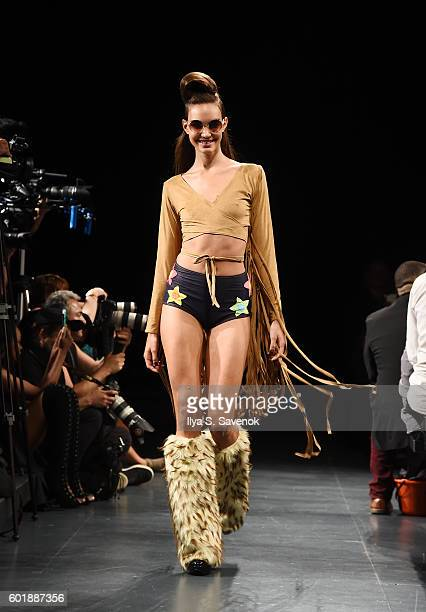 A model walks the runway at Yandycom Halloween 2016 Fashion show during New York Fashion Week September 2016 at Pier 59 Studios on September 9 2016...