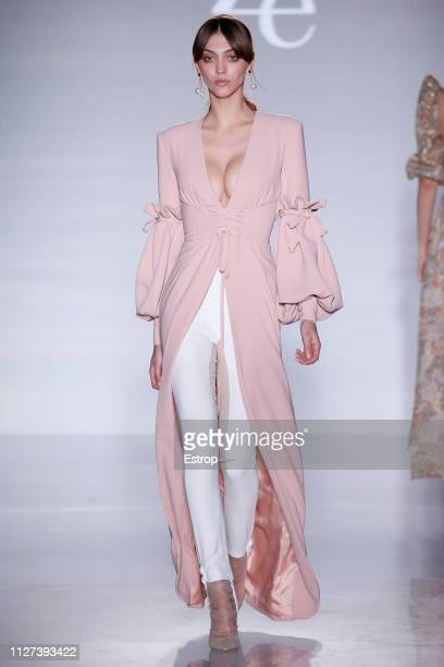 A model walks the runway at Ze García fashion show during Barcelona 080 Fashion Week – February 2019 on February 4th 2019 in Barcelona Spain