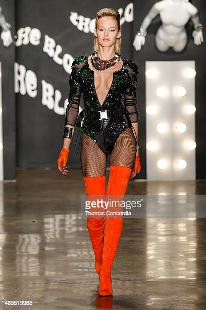 A model walks the runway atThe Blonds fashion show during MADE Fashion Week Fall 2015 at Milk Studios on February 18 2015 in New York City