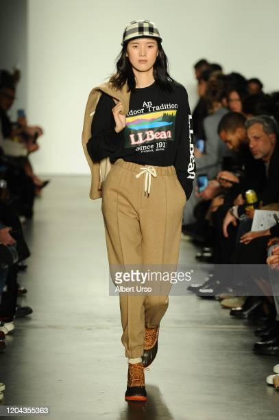 Model walks the runway ay the Todd Snyder fashion show during New York Fashion Week at Pier 59 Studios on February 5, 2020 in New York City.