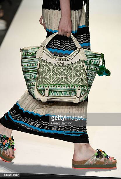 A model walks the runway bag detail at Desigual fashion show during New York Fashion Week The Shows September 2016 at The Arc Skylight at Moynihan...