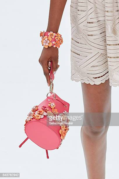 A model walks the runway bag detail at the Marina Hoermanseder defilee during the Der Berliner Mode Salon Spring/Summer 2017 at Kronprinzenpalais on...