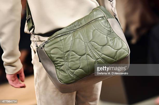 Model walks the runway 'bag detail' during the Bottega Veneta fashion show as part of Milan Men's Fashion Week Spring/Summer 2016 on June 21, 2015 in...