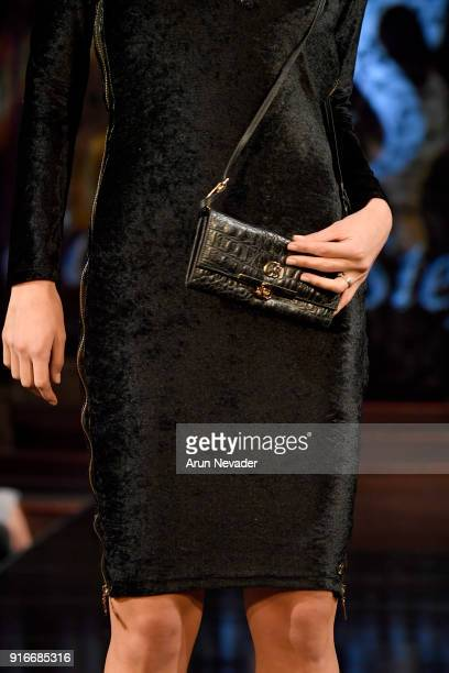 A model walks the runway bag detail during the Carmen Steffens presentation at New York Fashion Week Powered by Art Hearts Fashion NYFW at The Angel...