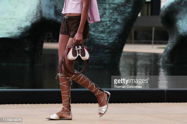 Model walks the runway, bag detail, during the Longchamp SS20 Runway Show on September 07, 2019 in New York City.
