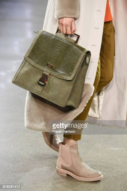 A model walks the runway bag detail for Marcel Ostertag during New York Fashion Week The Shows at Gallery II at Spring Studios on February 14 2018 in...
