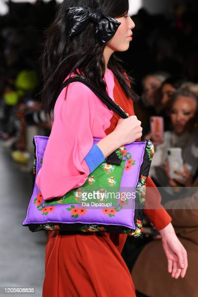 A model walks the runway bag detail for the Cynthia Rowley fashion show during February 2020 New York Fashion Week The Shows at Gallery I at Spring...