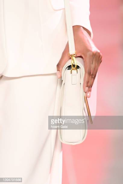 A model walks the runway bag detail for the Sergio Hudson fashion show during February 2020 New York Fashion Week The Shows at Gallery II at Spring...