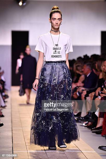 A model walks the runway Christian Dior show as part of the Paris Fashion Week Womenswear Spring/Summer 2017 on September 30 2016 in Paris France