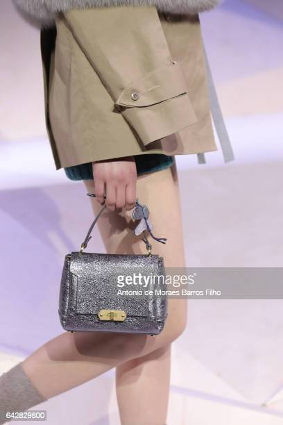 Model walks the runway, detail, at the Anya Hindmarch show during the London Fashion Week February 2017 collections on February 19, 2017 in London,...
