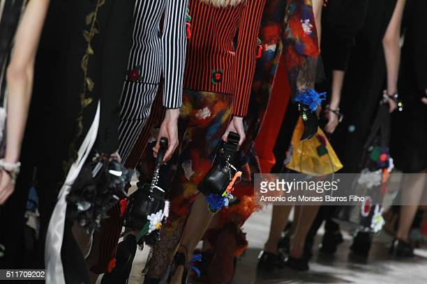 A model walks the runway detail at the Christopher Kane show during London Fashion Week Autumn/Winter 2016/17 at Tate Modern on February 22 2016 in...