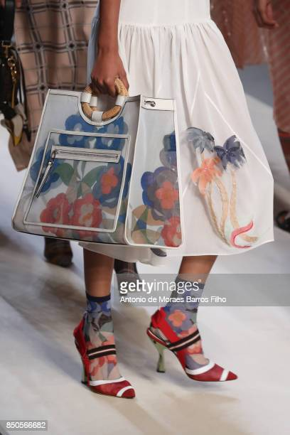 A model walks the runway detail at the Fendi show during Milan Fashion Week Spring/Summer 2018 on September 21 2017 in Milan Italy