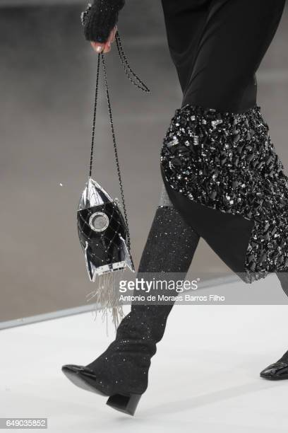 Model walks the runway, detail, during the Chanel Paris show as part of the Paris Fashion Week Womenswear Fall/Winter 2017/2018 on March 7, 2017 in...