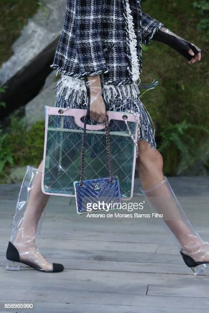 A model walks the runway detail during the Chanel show as part of the Paris Fashion Week Womenswear Spring/Summer 2018 on October 3 2017 in Paris...