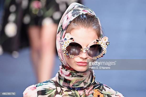 A model walks the runway detail during the Dolce Gabbana fashion show as part of Milan Fashion Week Spring/Summer 2016 on September 27 2015 in Milan...