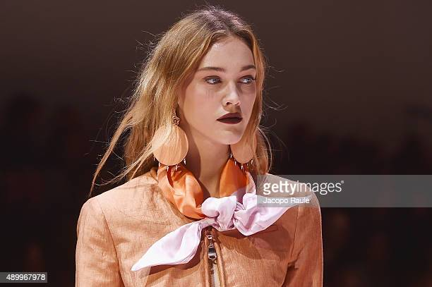 A model walks the runway detail during the Emporio Armani fashion show as part of Milan Fashion Week Spring/Summer 2016 on September 25 2015 in Milan...