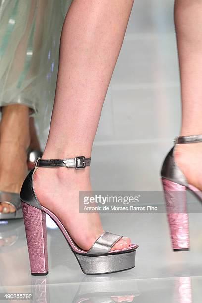 Model walks the runway, detail, during the John Richmond show as a part of Milan Fashion Week Spring/Summer 2016 on September 27, 2015 in Milan,...