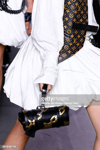 A model walks the runway detail during the Louis Vuitton show as part of the Paris Fashion Week Womenswear Spring/Summer 2016 on October 7 2015 in...