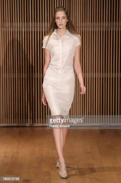 Model walks the runway Douglas Hanannt Spring 2014 Runway Show at DiMenna Center on September 11, 2013 in New York City.