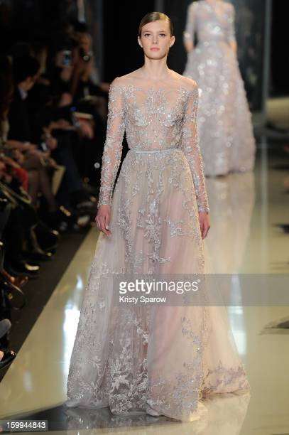 Model walks the runway duiring the Elie Saab Spring/Summer 2013 Haute-Couture show as part of Paris Fashion Week at Pavillon Cambon Capucines on...