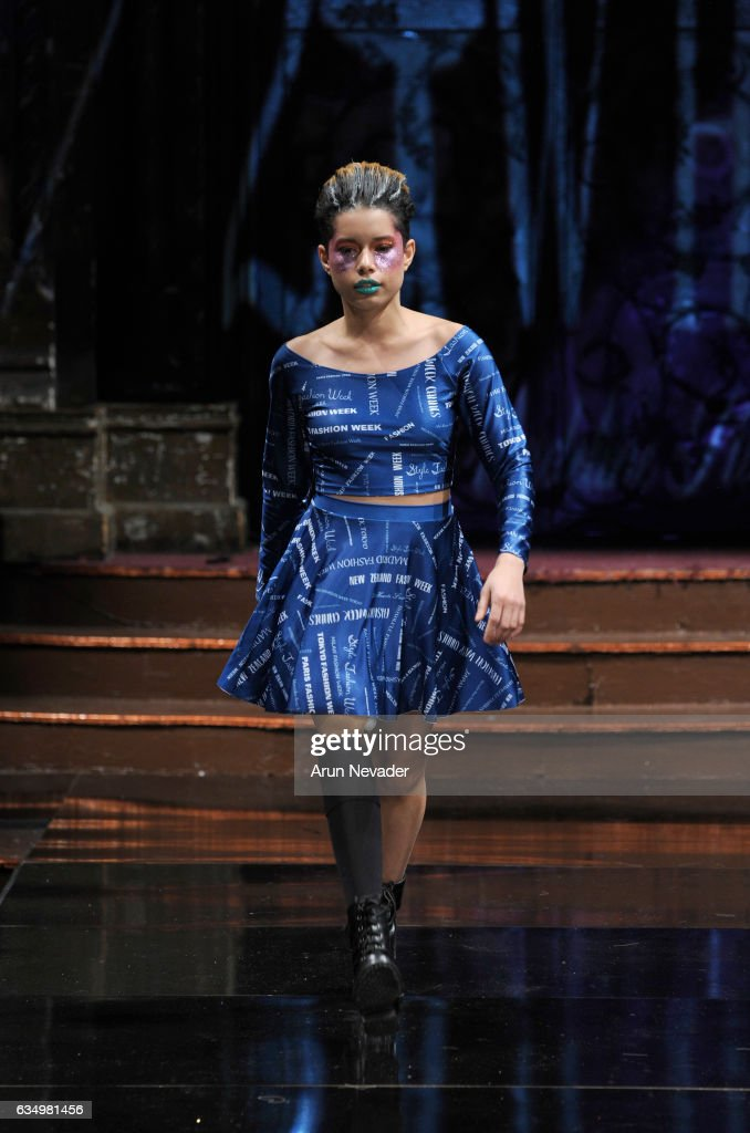 A model walks the runway during 21 Reasons Why By Madeline Stuart at New York Fashion Week Art Hearts Fashion NYFW FW/17 at The Angel Orensanz Foundation on February 12, 2017 in New York City.