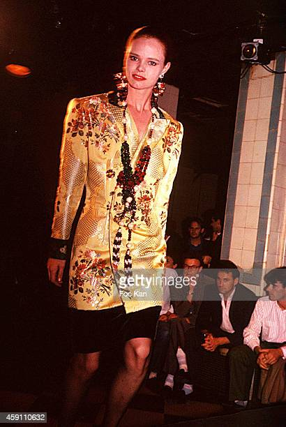 PARIS FRANCE A model walks the runway during a Jean Patou by Christian Lacroix fashion show at Les Bains Douches in 1985 in Paris France
