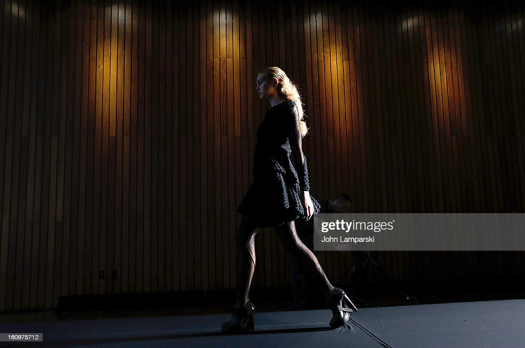 A model walks the runway during a rehearsal for the Katie Gallagher Presentation during Fall 2013 Mercedes-Benz Fashion Week at The Standard Hotel on February 8, 2013 in New York City.