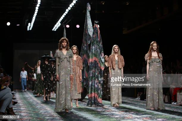 Model walks the runway during Ailanto show at Mercedes Benz Fashion Week Madrid Spring/ Summer 2019 on July 11, 2018 in Madrid, Spain. On July 11,...