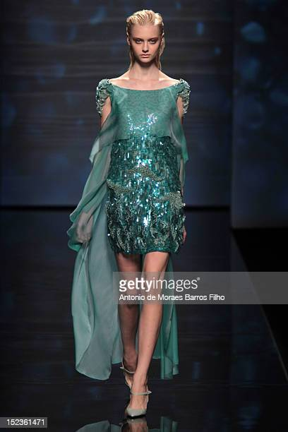 Model walks the runway during Alberta Ferretti show as a part of Milan Fashion Week Womenswear S/S 2013 on September 19, 2012 in Milan, Italy.
